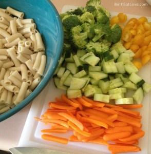 pasta salad veggies