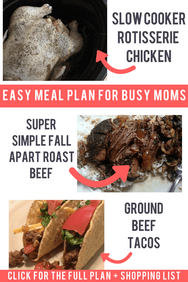 Ready to simplify your mom life? Try this easy 5 day meal plan. Stop worrying about what to cook! Dinner recipes plus grocery shopping list make its easy for busy moms to get healthy meals on the table.