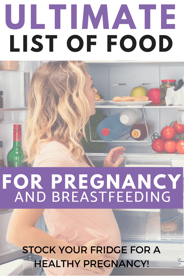 This list is so awesome! Snacks, meals and recipe ideas of best food for pregnancy and breastfeeding. Stock up now so you are ready for postpartum.