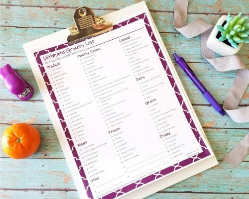 pregnancy grocery list printable