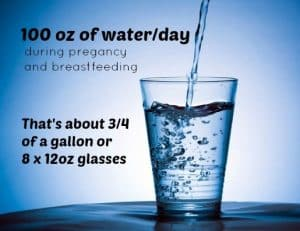Include drinking 100oz of water per day in your healthy pregnancy routine.