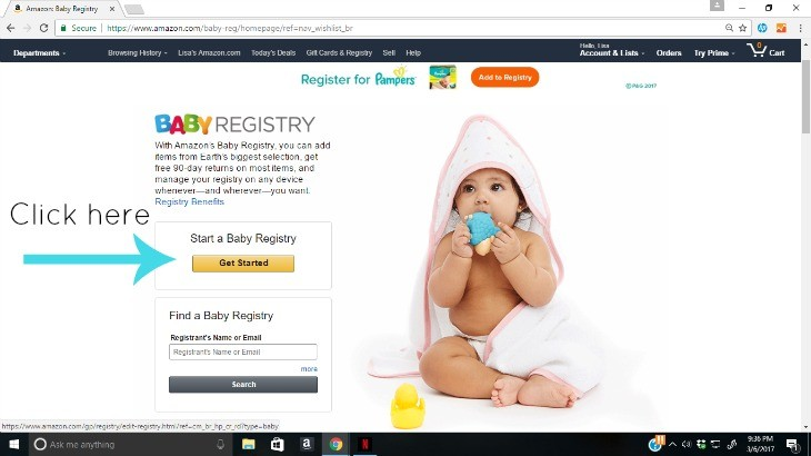 Easy Baby Registry with Amazon Step 2