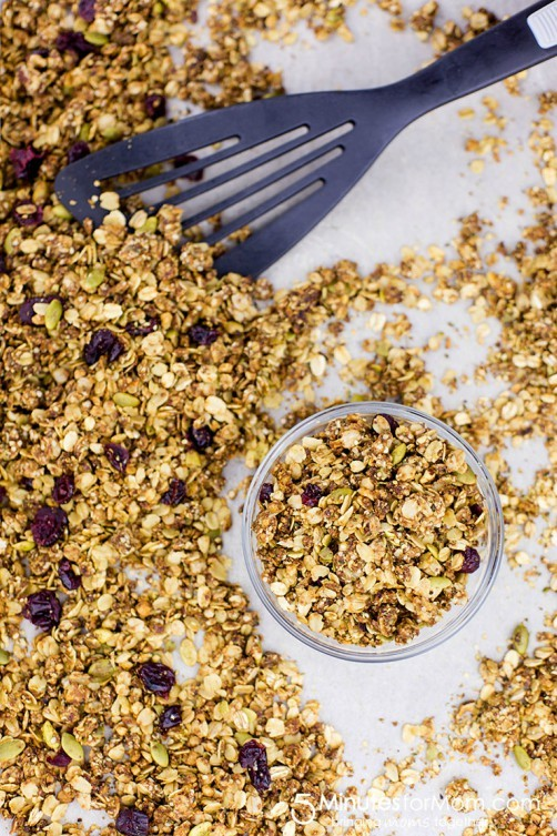 Healthy Granola Recipe with Hemp Hearts and Coconut Oil from 5 Minutes fro Mom