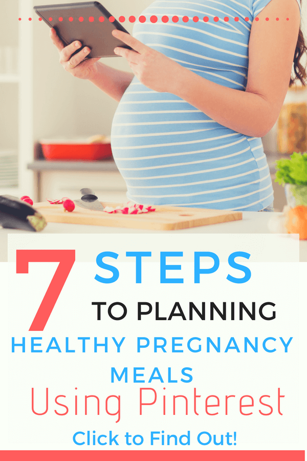 This meal planning system is awesome for pregnant moms! Learn the 7 steps to planning healthy pregnancy meals using Pinterest!