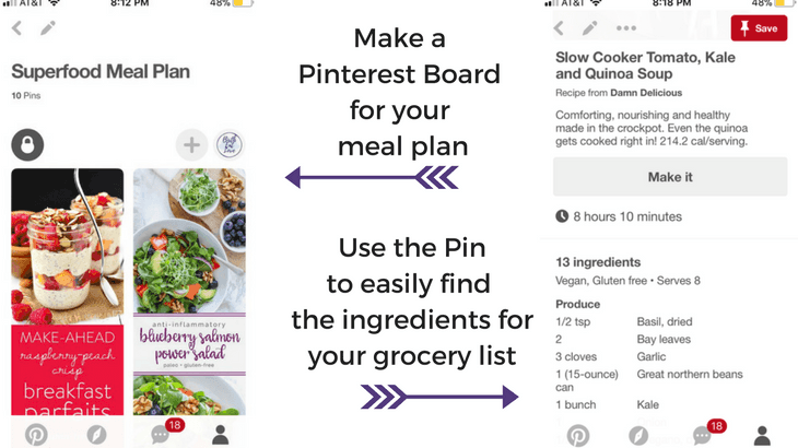Easy healthy pregnancy meal planing with Pinterest.