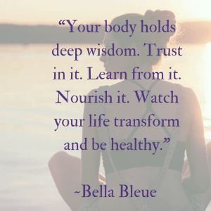 "Loving yourself and your family is the REAL reason to make meal planning a priority. Quote by Bella Bleue ""Your body holds deep wisdom. Trust in it. Learn from it. Nourish it. Watch your life transform and be healthy."""