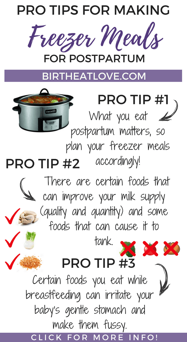 3 PRO tips for making freezer meals for postpartum. Follow these tips for healthy pre baby freezer meals!