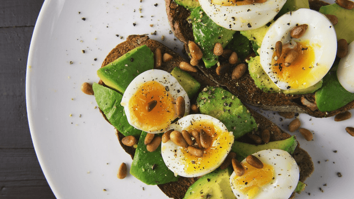Perfect healthy pregnancy breakfast - eggs with avocado toast