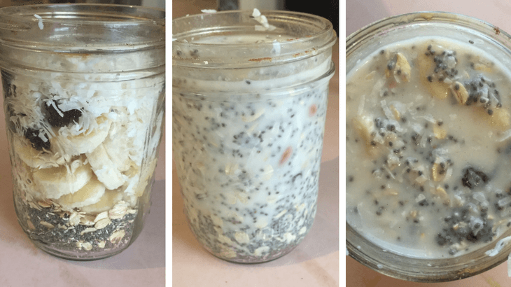Easy chia seed overnight oats for healthy pregnancy breakfast.