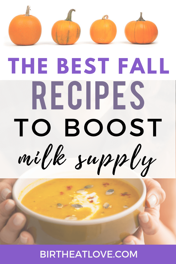 Easy lactation recipes perfect for Fall! Healthy pumpkin latte, pumpkin lactation smoothie, pumpkin lactation snacks and lots of pumpkin oatmeal recipes to boost milk supply. Delicious, easy recipes that are way better for you than lactation cookies!