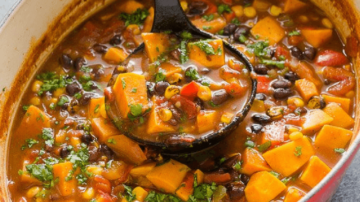 Sweet Potato Black Bean Tortilla Soup for Breastfeeding