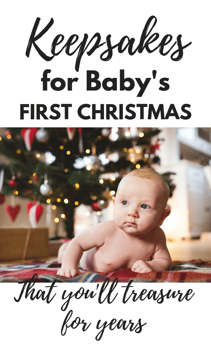 Adorable keepsakes for baby's first Christmas that you will treasure for years to come. Baby's first ornaments, Christmas stocking, books and outfits. #baby #christmas