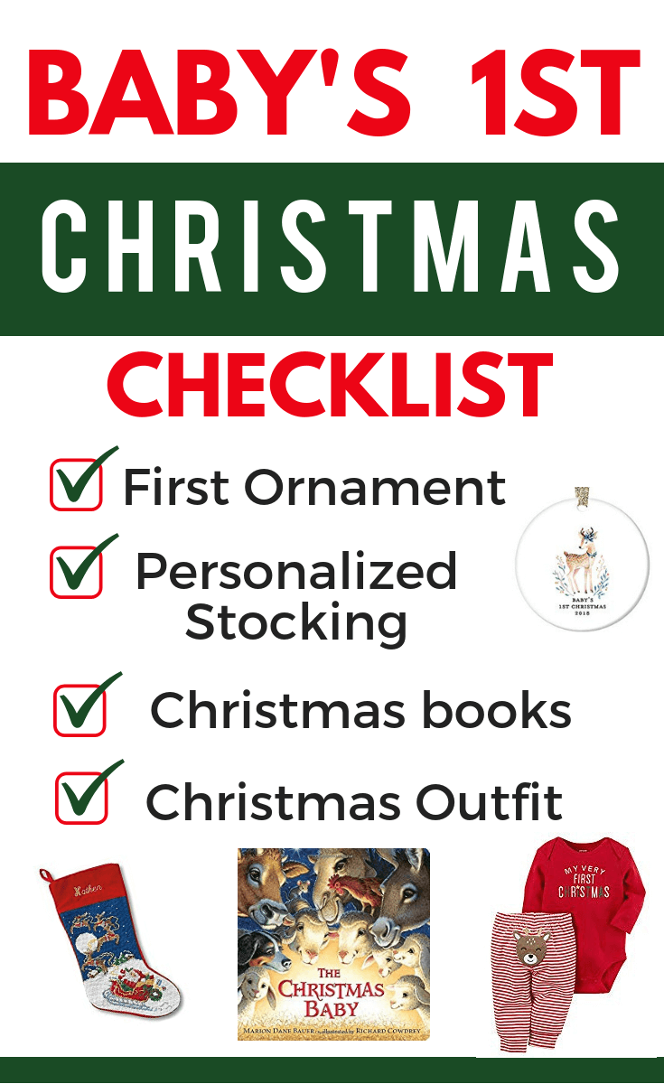 Baby's first Christmas checklist. Everything you need to make baby's 1st holiday memorable! Personalized ornaments, stockings, Christmas books and first Christmas outfit. #baby.