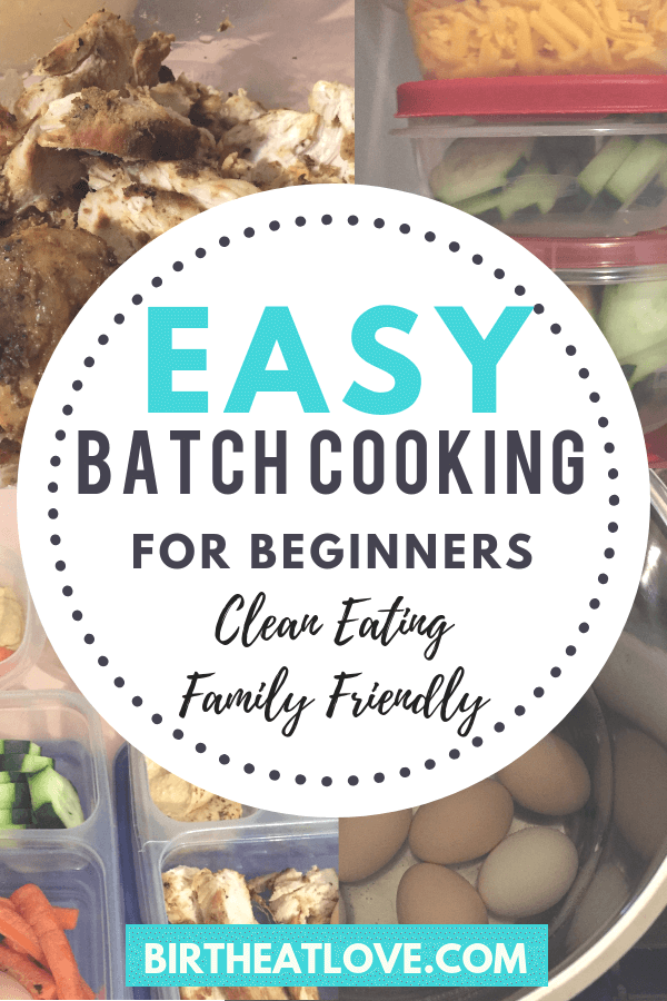 Healthy batch cooking meal prep for beginners. Learn 2 easy methods for batch cooking that will help you save a ton of time in the kitchen AND help you eat healthier. Clean eating and family friendly! Meal planning ideas to make your busy Mom life easier! #mealplanning #batchcooking #momlife #cleaneating