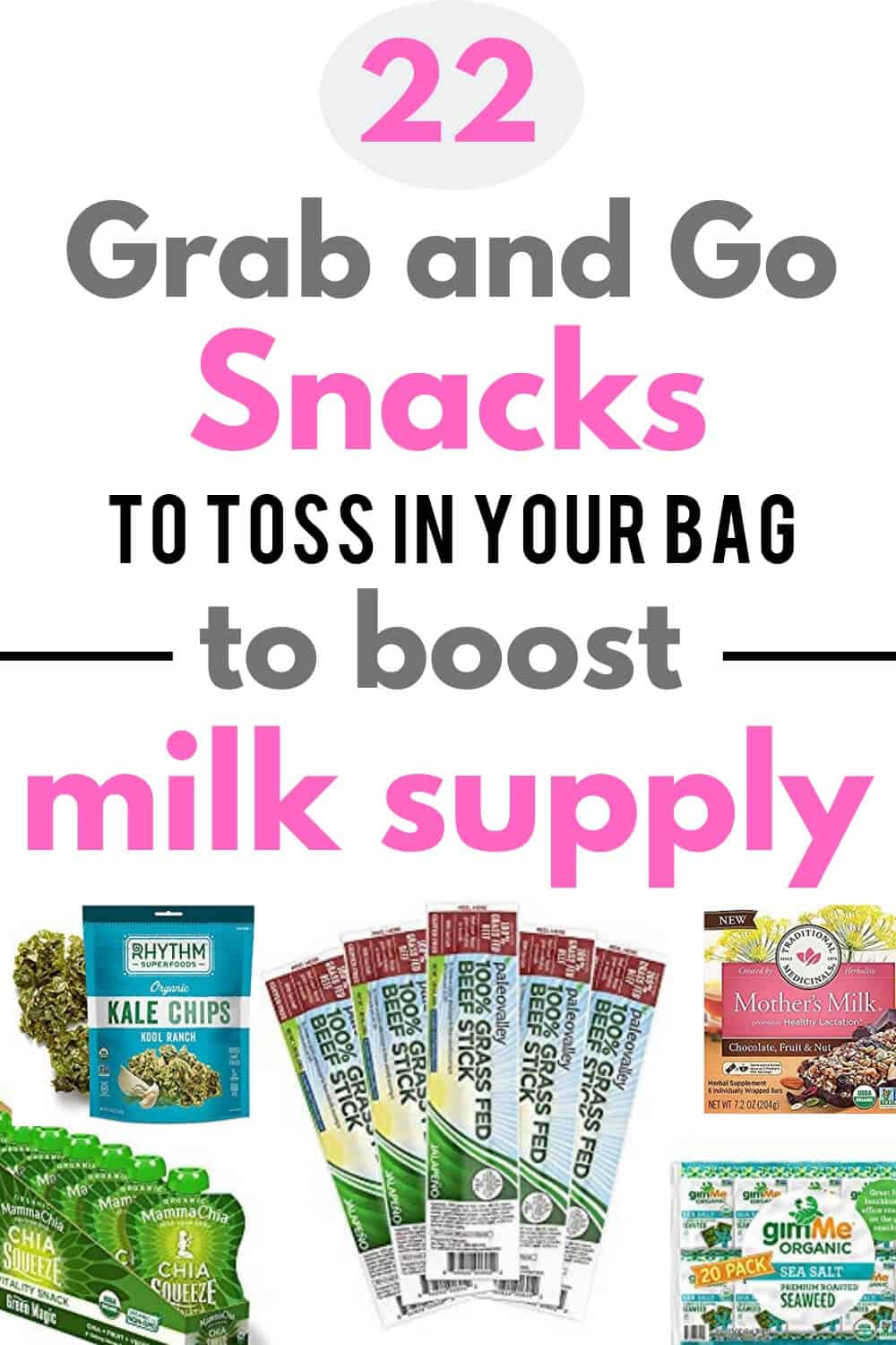 Healthy breastfeeding snacks for on the go Moms. Quick and easy snacks to buy and toss in you purse or pump bag. These store bought snacks ideas are yummy and good for you - low in sugar + high in protein! Boost your milk supply with these 22 lactation snacks! #breastfeeding #milksupply #lactation